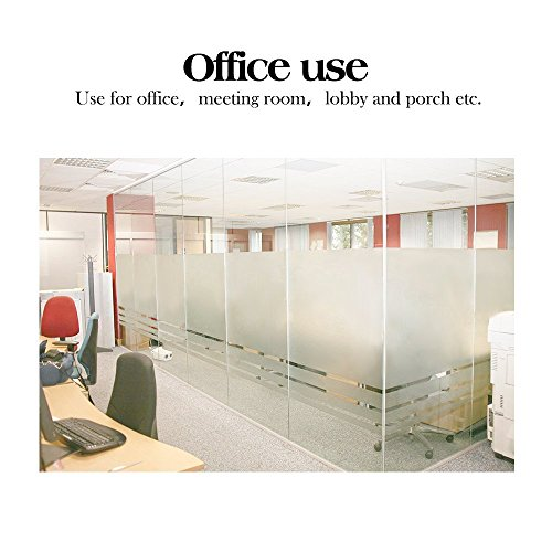 RABBITGOO No Glue Static Cling Privacy Window Film 35.4-by-78.7-Inch Frosted Films UV Protection Window Sticker Office Home Bathroom Living Room Kitchen White Frosted Glass Window Film by RABBITGOO (Image #3)