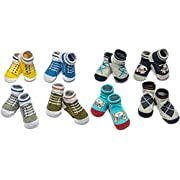 Little Me 8 Pack Bootie Gift Set in Box for Infant Boys & Girls, 0-12 Months