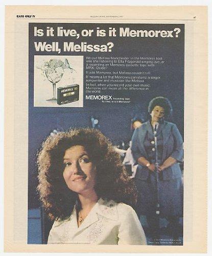 1977 Ella Fitzgerald Melissa Manchester Memorex Unprecedented Print Ad (Music Memorabilia) (3778)