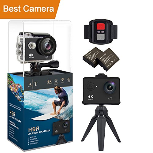 Auto Tech H9R Action Camera 4K Waterproof Wifi Sports Camera Full HD 4K 25FPS 2.7K 30fps 1080P 60fps Video Camera 12MP Photo and 170 Wide Angle Lens Includes 11 Mountings Kit 2 Batteries