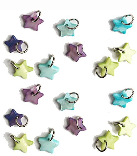 (18 pcs Blue Purple and Yellow Green Pastel Shell star Charms 0.43 inch /11 mm for jewelry making or decoration)