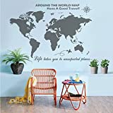 Higoss Large World Map Wall Decal With Compass Travel Quotes Wall Decal Vinyl Sticker for Home Office Wall Decor, Gray