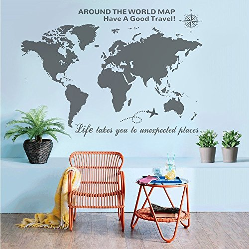 Higoss Large World Map Wall Decal With Compass Travel Quotes Wall Decal Vinyl Sticker for Home Office Wall Decor, Gray by Higoss