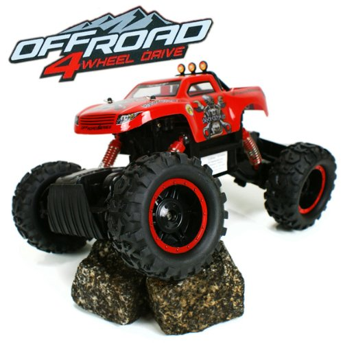 R/C Rock Crawler 1:12 Scale Radio Control 4x4 Wheel Drive Monster Truck Off Road Vehicle (Red) (Red Monster Truck)