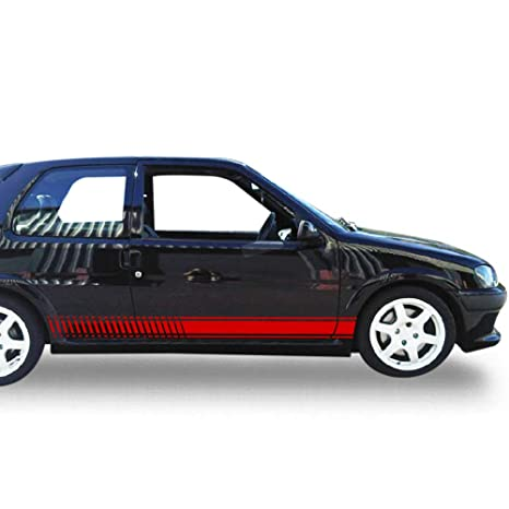 Amazon.com: Bubbles Designs Set of Racing Side Stripes Decal Sticker Graphic Compatible with Peugeot 106 1991-2003: Automotive