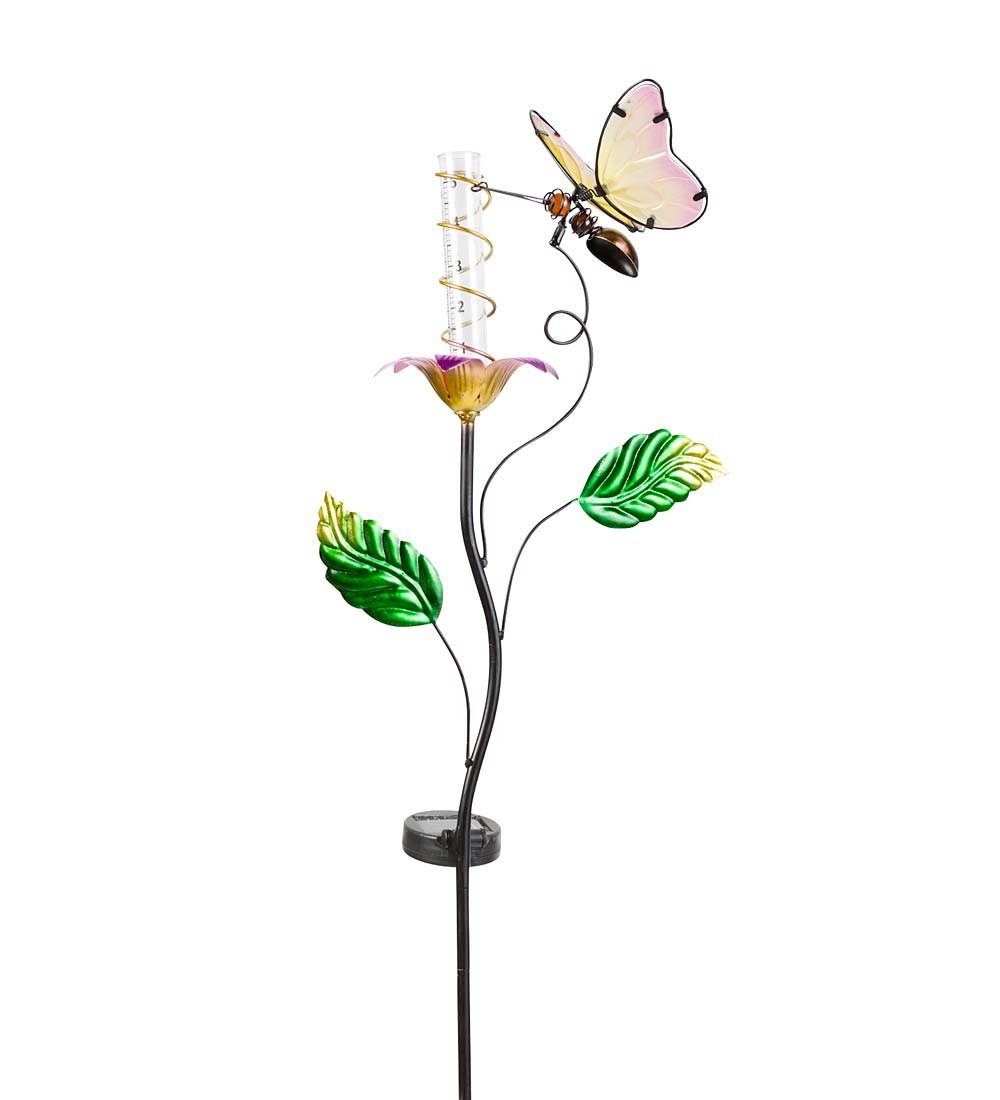 Wind & Weather RG9244BFY Outdoor Yard and Garden Color-Changing Solar Rain Gauge, Butterfly