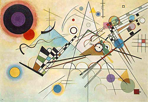 Neron Art Wassily Kandinsky Composition VIII 1923 - Original Abstract Canvas Paintings Hand Painted Reproduction Rolled - 90X65 cm (Approx. 36X26 inch) for Wall Decoration