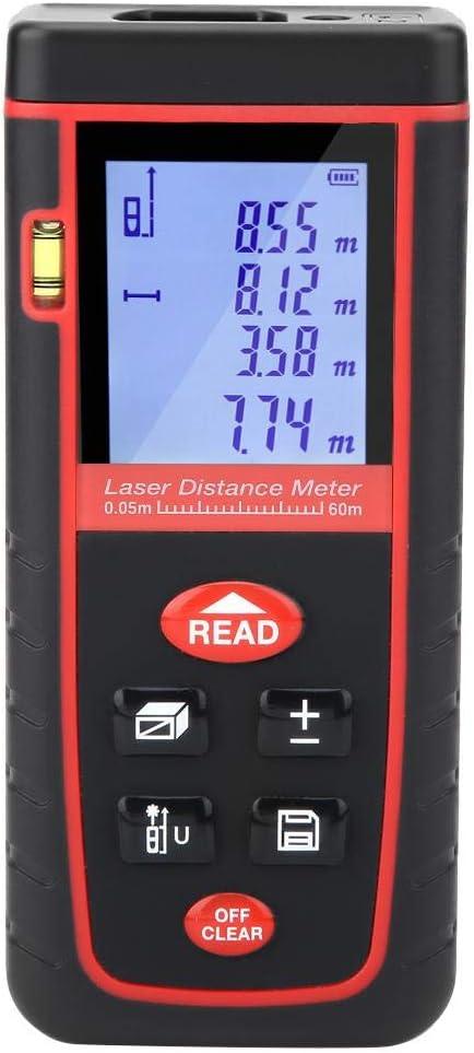 Akozon - Telémetro láser digital (60 m, 30 datos, distancia por metro láser, con pantalla LCD automática, para construcción industrial de carretera y diseño de casa (0,05 ~ 60 m)