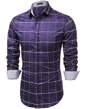 Men's Cotton Long Sleeve Plaid Button Down Shirts Slim Fit Dress Shirt