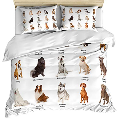 - Dog Lover 3 Piece Bedding Set Comforter Cover Full Size, A Group of Different Puppy Breeds Family Type Dalmatian Husky Bulldog, Duvet Cover Set with Zipper Closure for Childrens/Kids/Teens/Adults