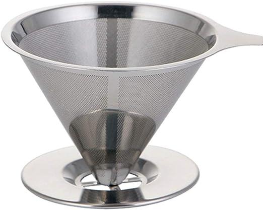KNDJSPR Filtro de café de Acero Inoxidable alveolar, Soporte de Embudo de Malla metálica Reutilizable para