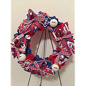 COLLEGE PRIDE - UM - UNIVERSITY OF MISSSIPPI - OLE MISS - REBELS - DORM DECOR - DORM ROOM - COLLECTOR WREATH - BLUE DAHLIA AND RED CARNATIONS 54