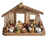 Colorful Little Manger Scene 4 x 6 inch Resin Christmas Nativity 12 Piece Set