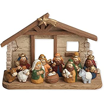 Amazoncom Fun Express Mini Christmas Nativity Set Stable with