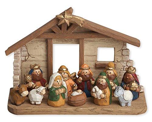 (Miniature Kids Nativity Scene with Creche, Set of 12 Rearrangeable)