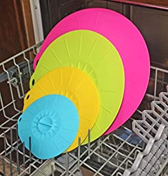 SILICONE LIDS 6, 8, 10, 12 inch. Suction Lids for Bowls, Pots, Pans and Skillets. Microwave and Food Covers. FREE Brush