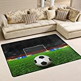 XiangHeFu Personalized Area Rugs Football Field Soccer 3'x2' (36x24 Inches) Floor Doormats Mat Soft for Living Room Bedroom Home Kitchen Decorative