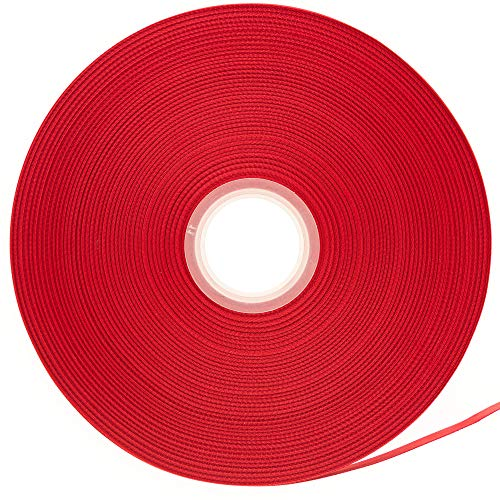 ATRibbons 100 Yards 1/2 Inch Wide Double Face Satin Ribbon,Polyester Material,Solid Color,Great for Gift Wrapping, Bow Headbands and Apparel Accessories,100 Yards/Spool (Red) ()