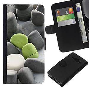 JackGot ( Significado de color verde oscuro Gris Beach ) Samsung Galaxy Core Prime la tarjeta de Crédito Slots PU Funda de cuero Monedero caso cubierta de piel
