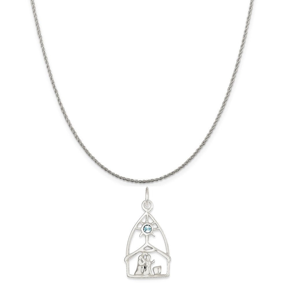 16-20 Mireval Sterling Silver and Stellux Crystal Nativity Charm on a Sterling Silver Chain Necklace