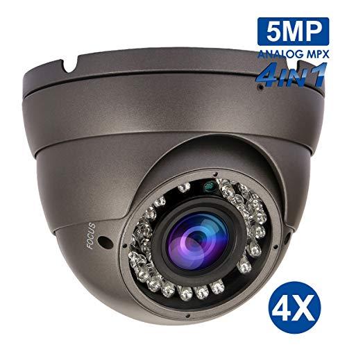 5MPTVI/AHDDome Camera,4MPCVICamera,HDMegapixelDomeSecurityCamera, 2.8~12mmManualFocusLens,IP66,24IRLEDs, 30m InfraredNightVision,IR-CutDNRUTCOSD