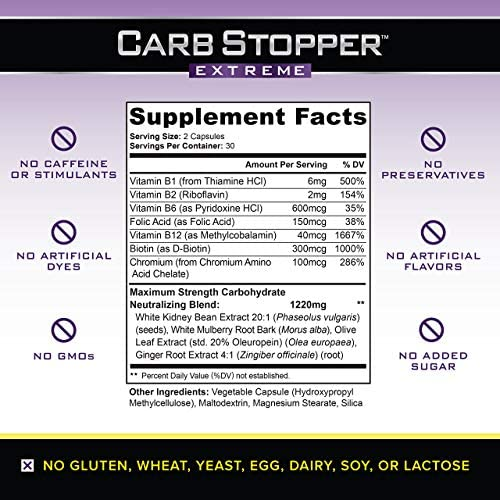 Carb Stopper Extreme: Maximum Strength, All-Natural Carbohydrate and Starch Blocker Weight Loss Supplement | Absorb Fat with White Kidney Bean Extract Diet Pills & Starch Blocker Pills, 60 Capsules 5