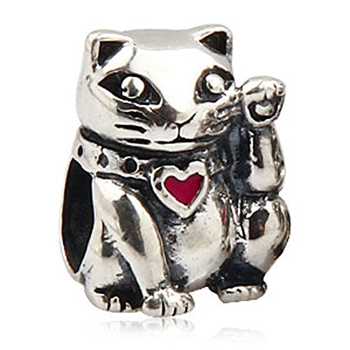 Ollia Jewelry Antique 925 Sterling Silver Beads Japanese Maneki-neko Cat Charm with a Heart Collar Lucky Money Making Charm Red Enamel ()