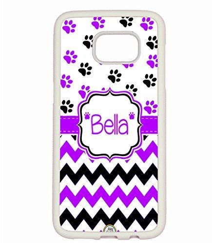Dog Paws White Case - Galaxy S7 Case, ArtsyCase Purple Black Dog Paw Prints Chevron Monogram Personalized Name Phone Case for Samsung Galaxy S7 (White)