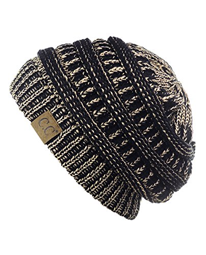 UPC 735520197267, Trendy Warm Chunky Soft Stretch Cable Knit Beanie Skully, Black/Met. Gold