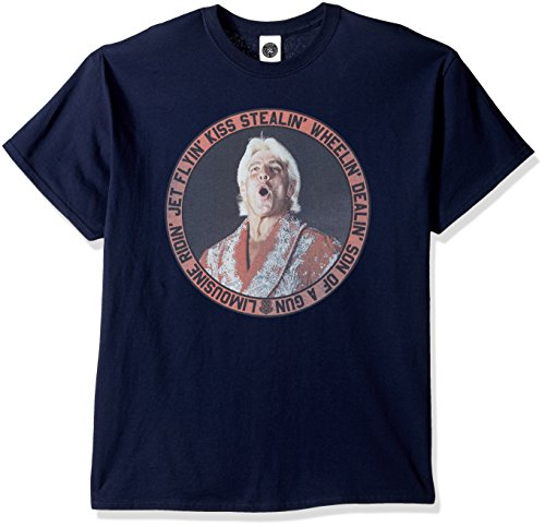 WWE Men's RIC Flair Jet Flyin' T-Shirt, Navy, Large by WWE