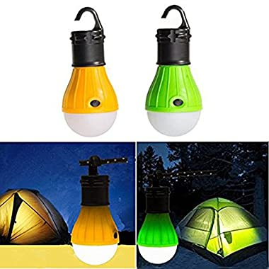 UPmall Tent Camping Lamp Night Light Portable Lantern Outdoor Waterproof Emergency Bulb by 3 AAA Battery for Hiking ,Sailboats, Cockpit, Outages (1 Pair, Green & Yellow)