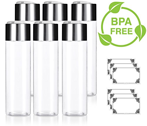 Clear 8 oz / 250 ml Professional Cylinder PET Bottles (BPA Free) with Wide Silver Disc Cap Lid (6 pack) + Labels for Shampoo, Conditioner, Body Wash, Lotion, and ()
