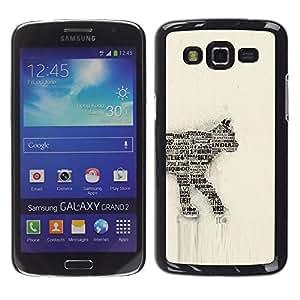 Be Good Phone Accessory // Dura Cáscara cubierta Protectora Caso Carcasa Funda de Protección para Samsung Galaxy Grand 2 SM-G7102 SM-G7105 // Cat Newspaper Art Number 35 India Feline