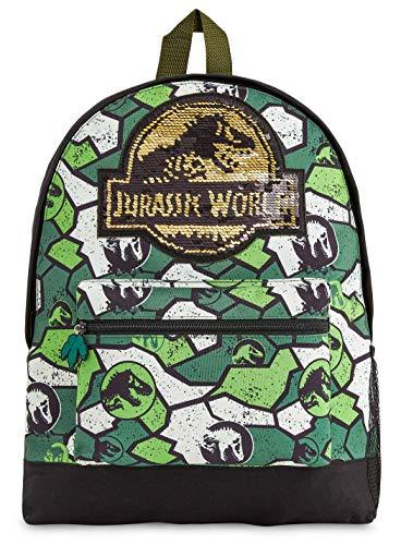 51QQRab4FEL MOCHILA DE DINOSAURIOS JURASSIC WORLD --- Esta divertida mochila escolar de Jurassic Park para niños y niñas es muy cómoda y tiene mucho espacio para libros de texto, ropa o juguetes. Nuestras mochilas oficiales de Jurassic World presenta un increíble estampado de camuflaje y vienen con correas acolchadas, un bolsillo frontal con cremallera y un bolsillo lateral de malla elástica. DISEÑO ÚNICO --- Nuestra fantástica mochila escolar presenta el logotipo de Jurassic World con detalles de lentejuelas en la parte delantera y un moderno estampado de camuflaje. Ideal para cualquier amante de los dinosaurios, esta mochila es perfecta para diferentes ocasiones, tanto para ir al colegio cómo salir de excursión o de vacaciones. EDICION LIMITADA --- Mochilas escolares de Jurassic World con licencia oficial para niños, niñas y adolescentes. Estas mochilas han sido diseñadas exclusivamente para tiendas F&F Stores y no las encontrarás en ningún otro lugar. Ideales como regalo para cualquier fan de los dinosaurios.