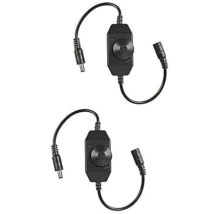 FAVOLCANO 2pcs Mini DC 12V-24V 6A LED Strip Dimmer Switch Single Channel  Inline PWM Led Dimmer controller for Single Color LED Light LED Strip LED