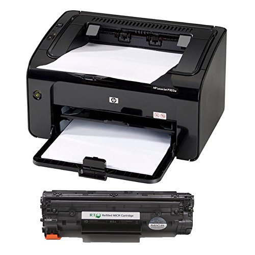 RT LaserJet P1102W MICR Check Printer Package and 1 CE285A 85A Modified MICR Toner Cartridge; starter yield 1.6k pages (Micr Laser Check Printer)