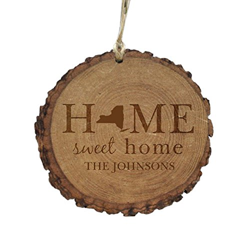 Personalized Home Sweet Home Rustic Wood Ornament-New York, 4