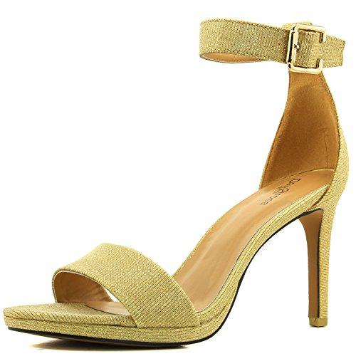 en Toe Ankle Buckle Strap Platform Evening Dress Casual Pump Sandal Shoes GoldGL-09 ()