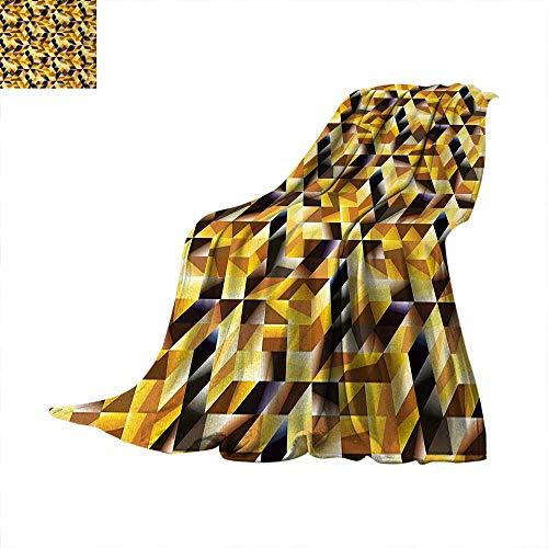 Gold Digital Printing Blanket Cubes and Blocks Form Abstract Art Geometric Digital Graphic Art Pattern Summer Quilt Comforter 62