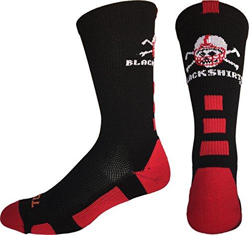 TCK Sports Nebraska Cornhuskers Blackshirts Crew Socks (Black/Scarlet/White, Medium) ()