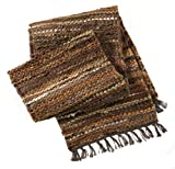 """craftsman style kitchen HF by LT Tucson Leather Table Runner, 13"""" x 78"""", Handwoven Recycled Leather and Soft Cotton, Brown"""