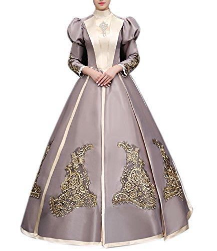 Victorian Lady Dress - ROLECOS Womens Royal Medieval Renaissance Victorian Dress Satin Masquerade Dress