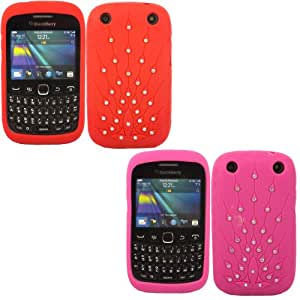 2 Pack Peacock Diamante Silicona Caso Cubrir Concha Para Blackberry Curve 9220 9320 / Red And Hot Pink