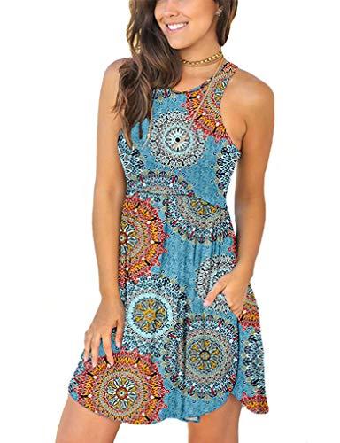 (OURS Plus Size Dresses for Women Flower Sleeveless Pocket Dress Above Knee Blue XXL)