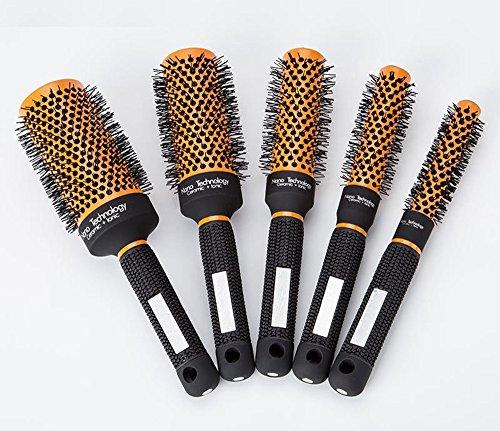 (Round Barrel Hair Brush Nylon Bristles,Professional Salon Styling Tool Fast Blow Dry Hairbrush For Women Men Detangling Curly Wavy Straight Hair Volume,Detangler Styling Brush (5-piece set))