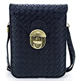 U-TIMES Women's Braid Pattern PU Leather Cross Body Shoulder Bag Wallet Phone Pouch With Lock Closure(Black)