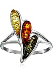 Multicolor Amber Sterling Silver Classic Ring