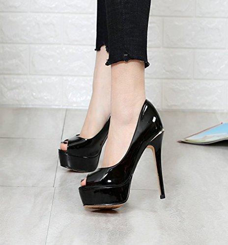 Lady Shallow Shoes 36 Heels 12Cm Waterproof Heels Fine MDRW Spring Black Elegant Sandals High Platform Mouth Work Fish Shoes Single Leisure gxFdzq