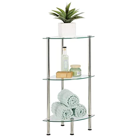 mDesign Bathroom Floor Storage Corner Tower, 3 Tier Open Glass Shelves -  Compact Shelving Display Unit - Multi-Use Home Organizer for Bath, Office,  ...