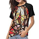 Shirt,Winery,Champagne Glasses Mosaic S-XXL(This is for Size Extra Large),Women's Short Sleeve Tops